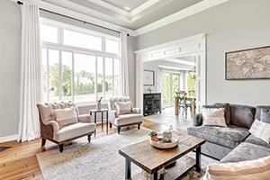 Interior living room with slider fiberglass window from Infinity