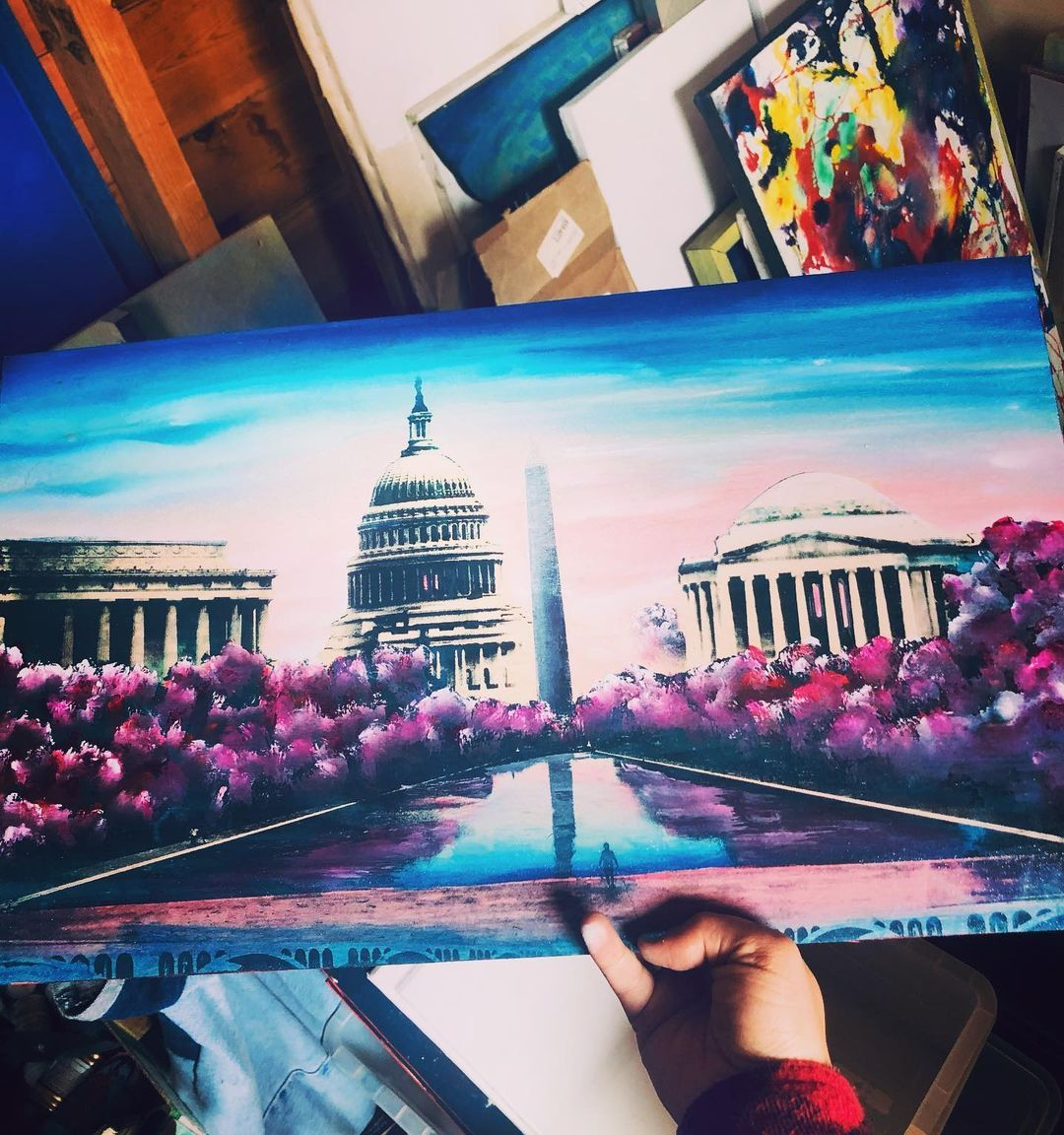 painting of dc on wood