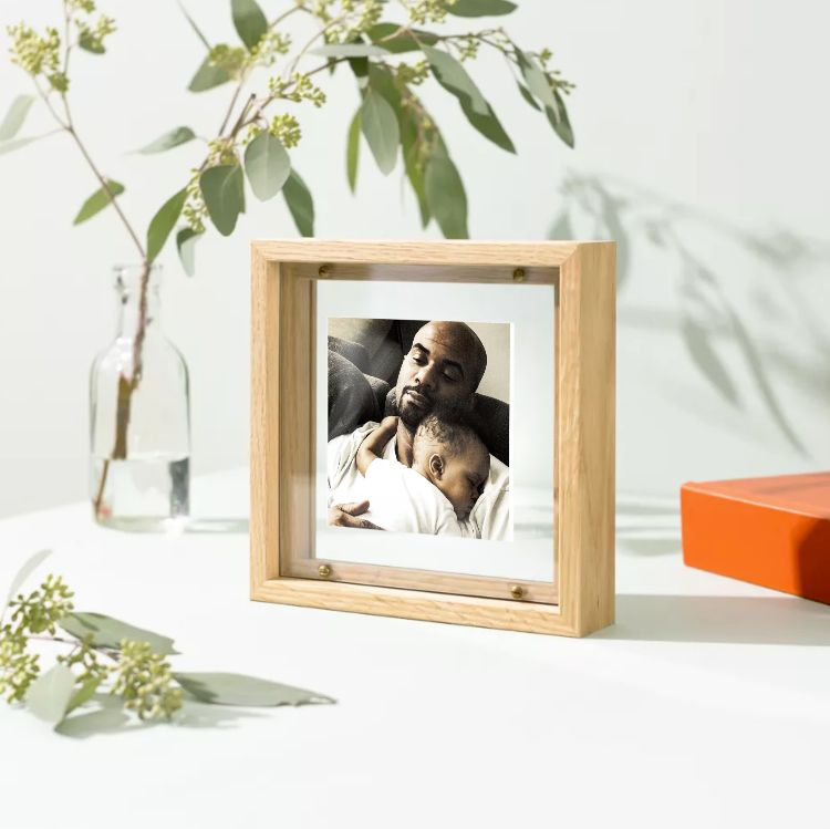 framed photo of napping Dad