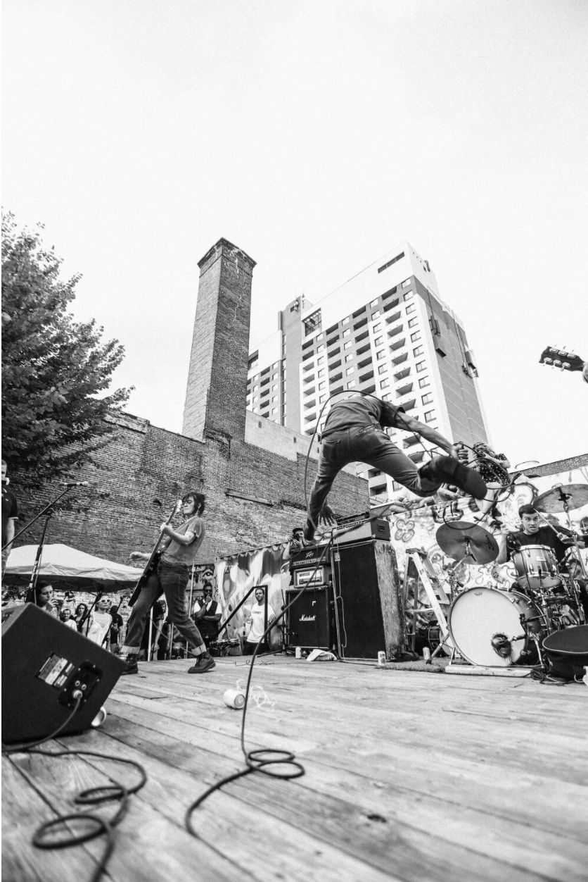 photo of punk band playing show