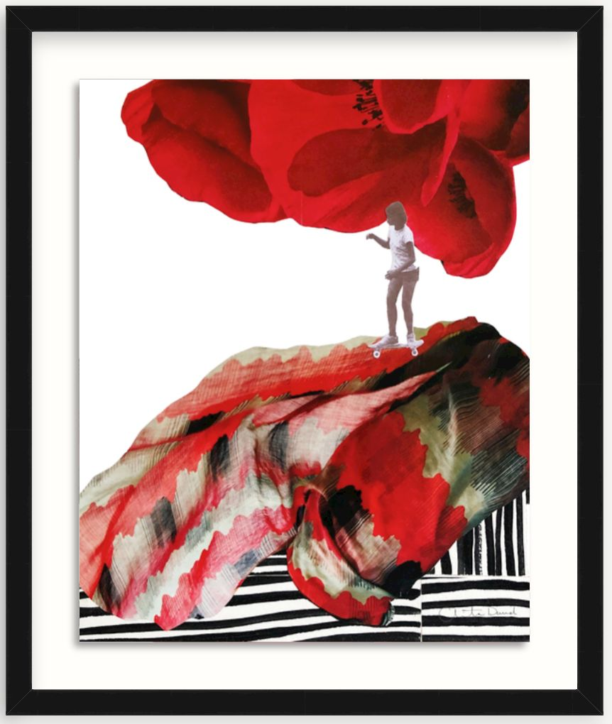 collage art print in black frame