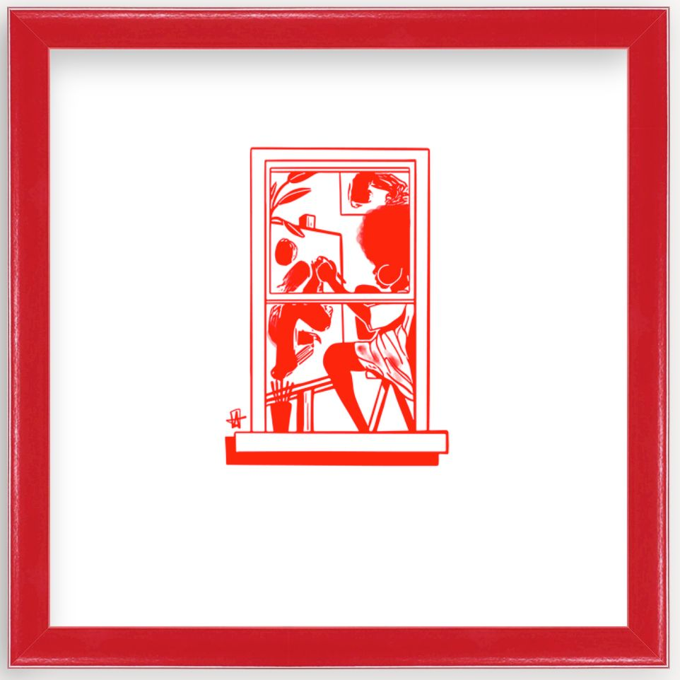 art print by Adrian Brandon in red frame