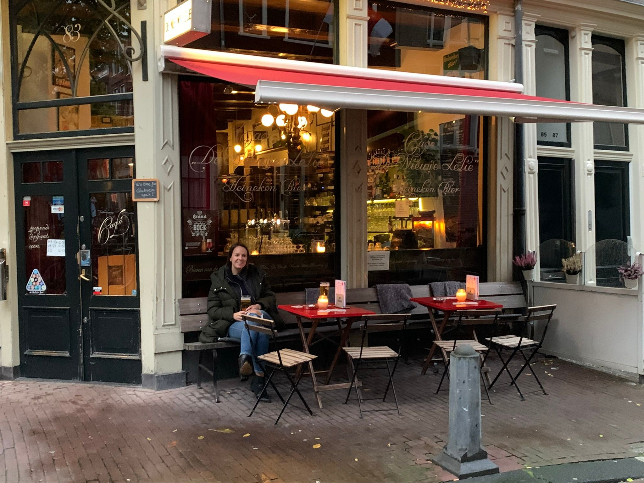 woman at cafe in amsterdam
