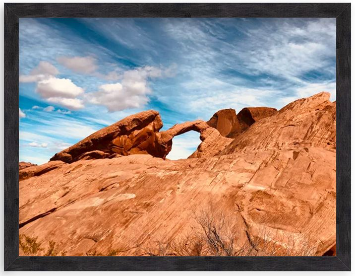 photo of rock formations in wood frame