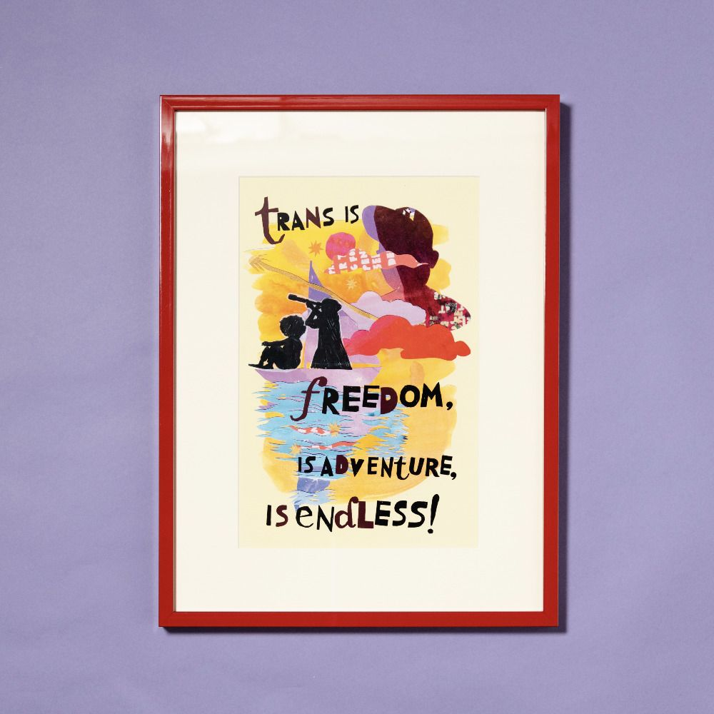 trans poster in red frame