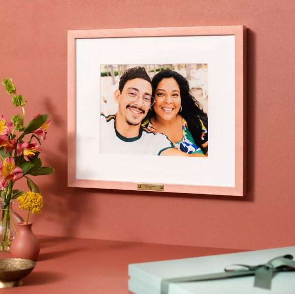 pink frame of mom and son