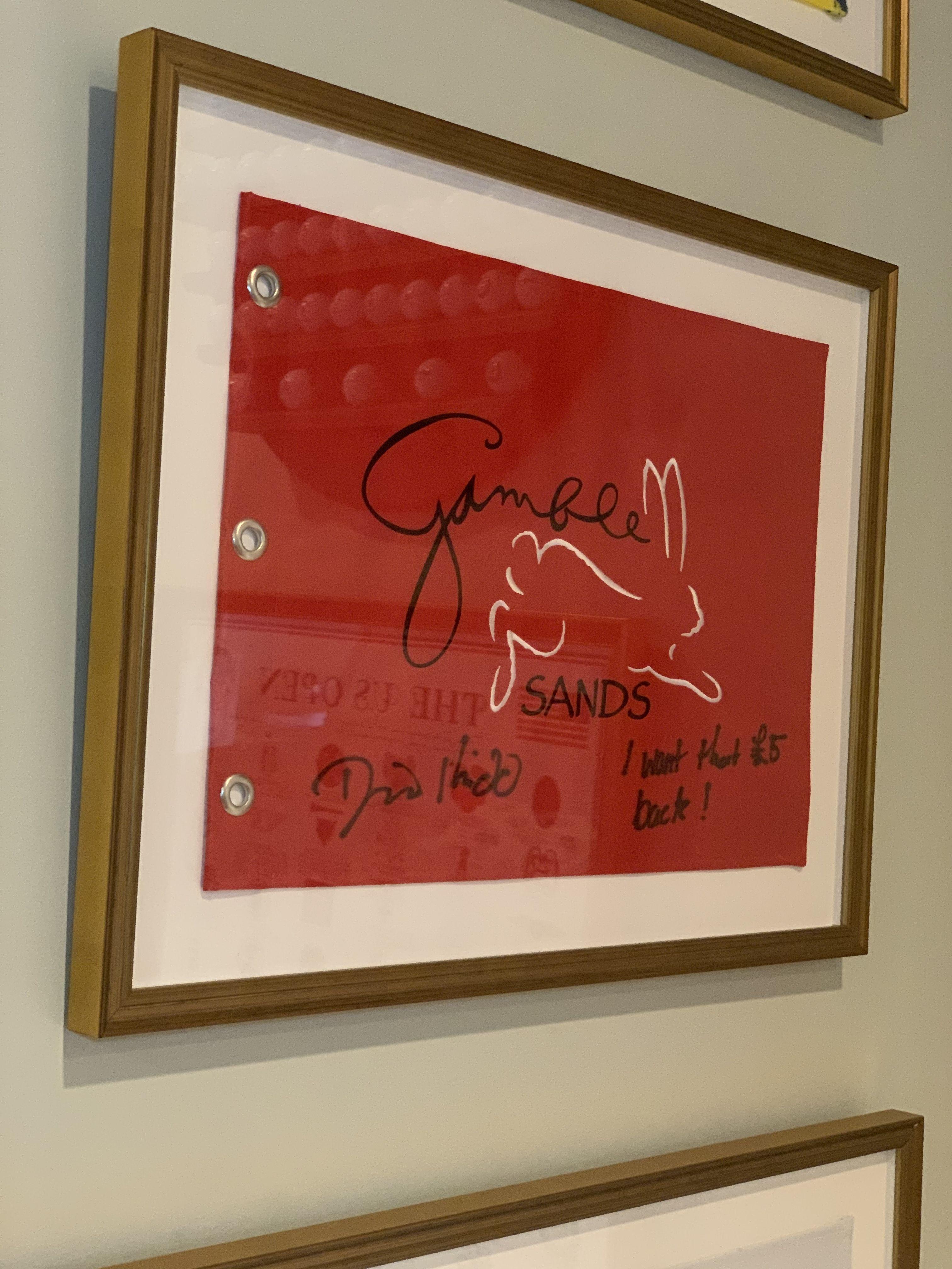 framed, signed golf flag