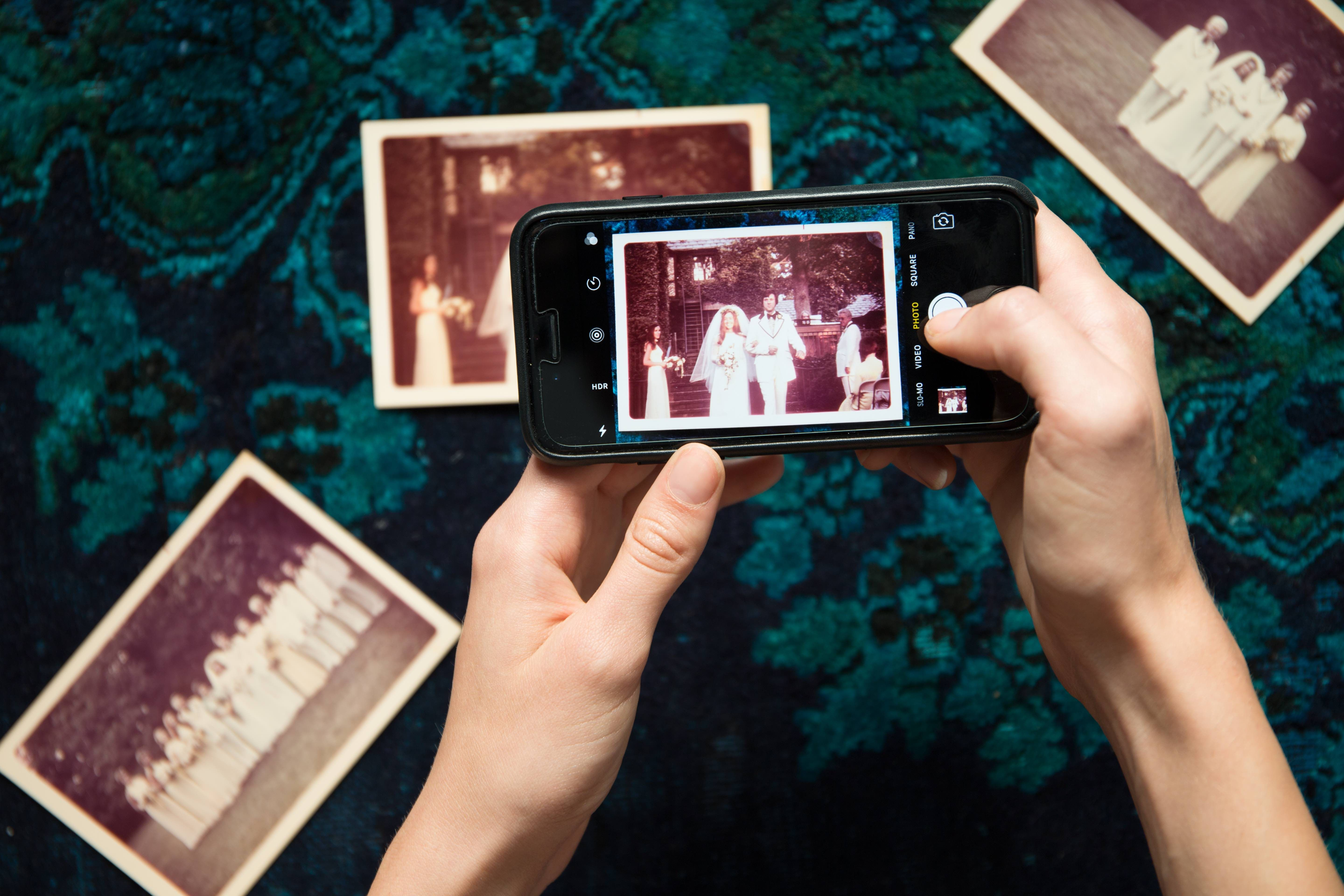 phone with vintage photographs