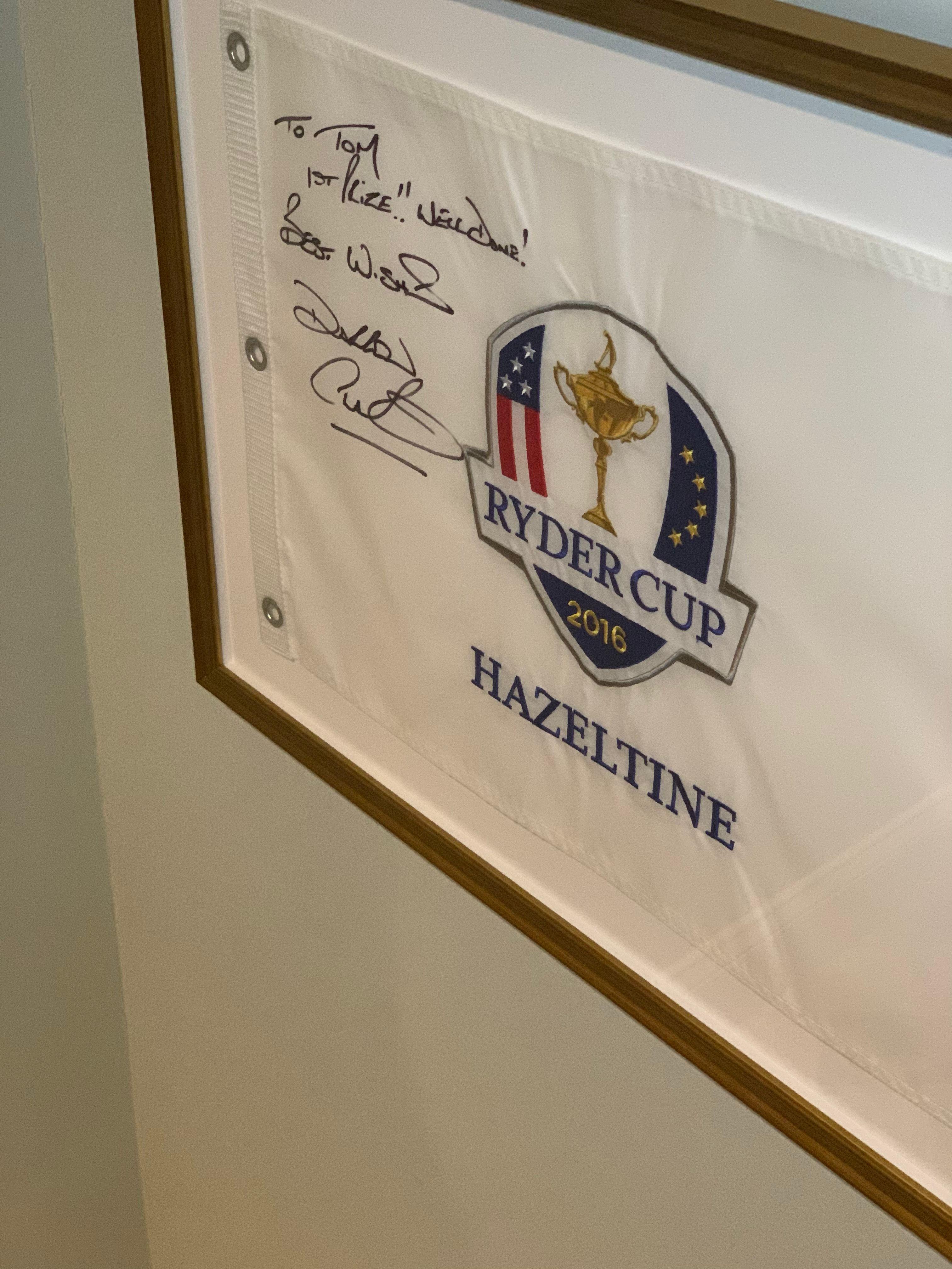 signed ryder cup flsg in frame