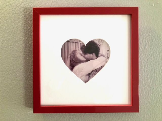 vintage photo in frame with heart shaped mat