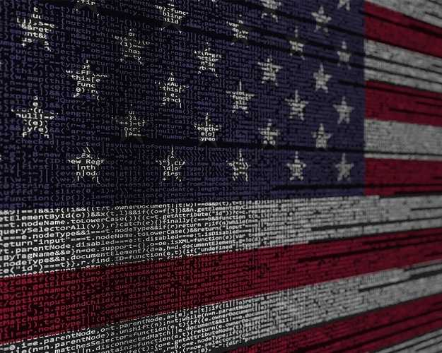 Lines of computer code colorized to form an American flag