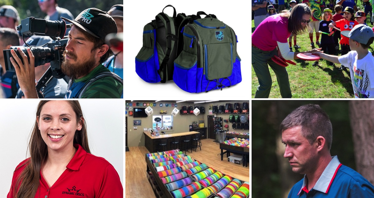Photos of people in disc golf jobs as well as a disc golf store and a disc golf bags