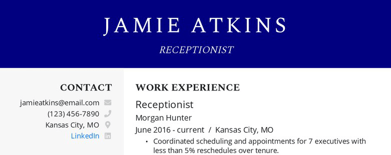 Receptionist resume example with contact information