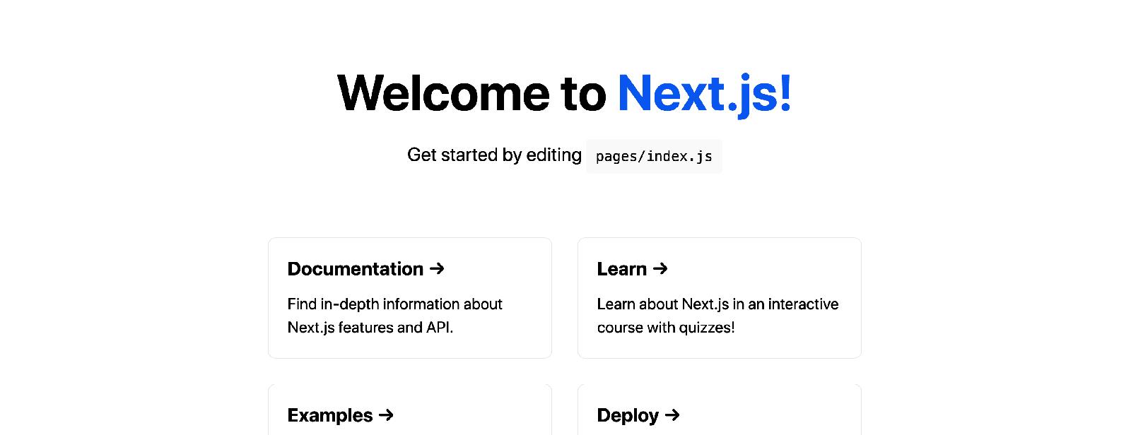 Screenshot: Next.js welcome screen