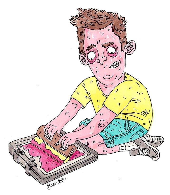 Screen printing shouldn't be this nerve-wracking. Illustration: Helene Jean-Bon.