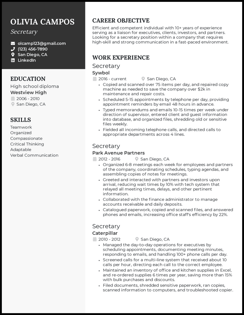 Secretary resume with 10 years of experience