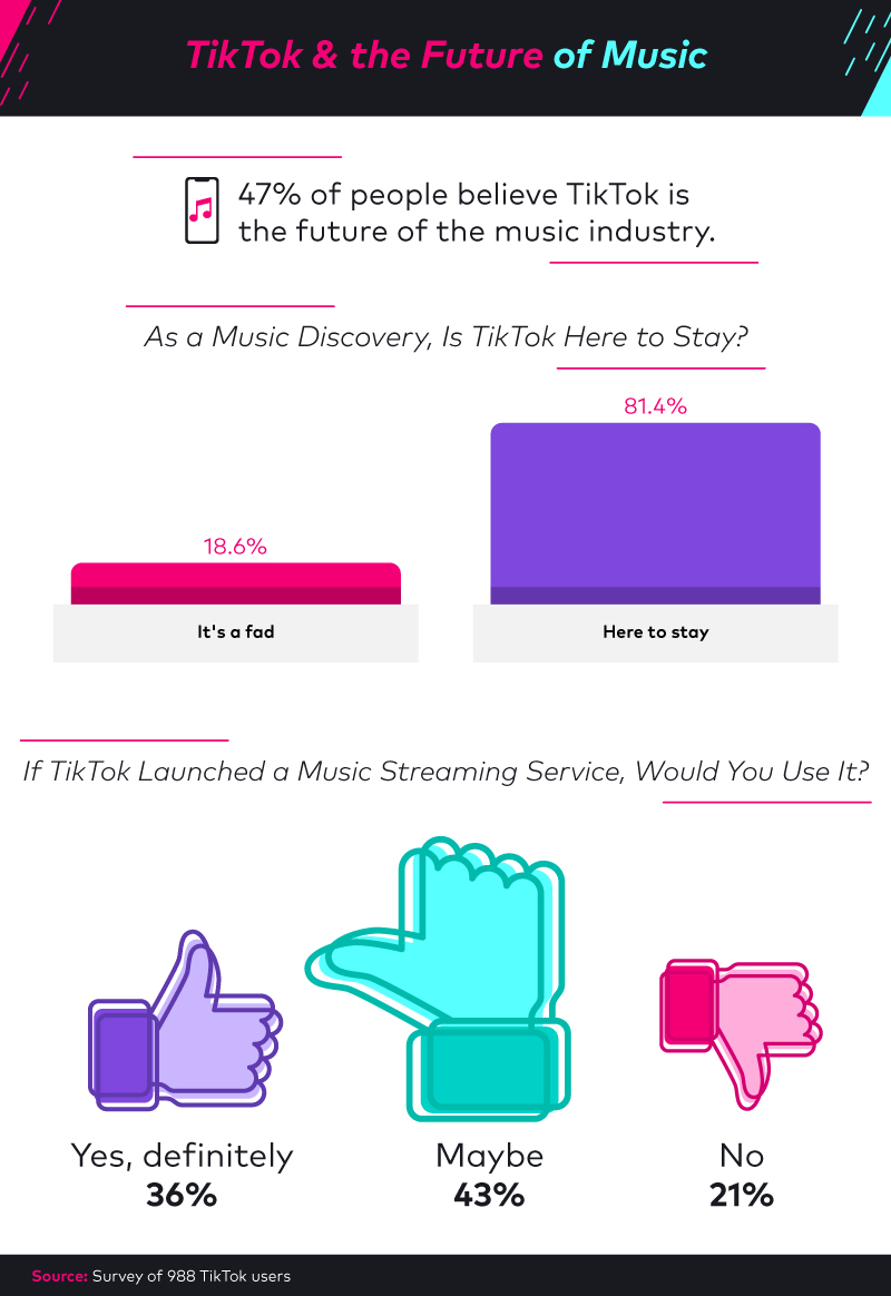 Fourty-seven percent of people believe TikTok is the future of the music industry.