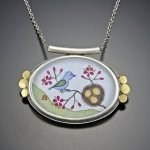Handpainted Oval Bluebird with Nest Necklace by Ananda Khalsa - 2019 Photo Update