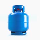 Ilustração de fundo branco com botijão azul de 5KG