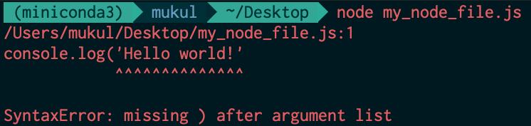 Example syntax error in Node.js