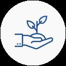 Ícone com o desenho de uma mão apoiando um broto de uma planta