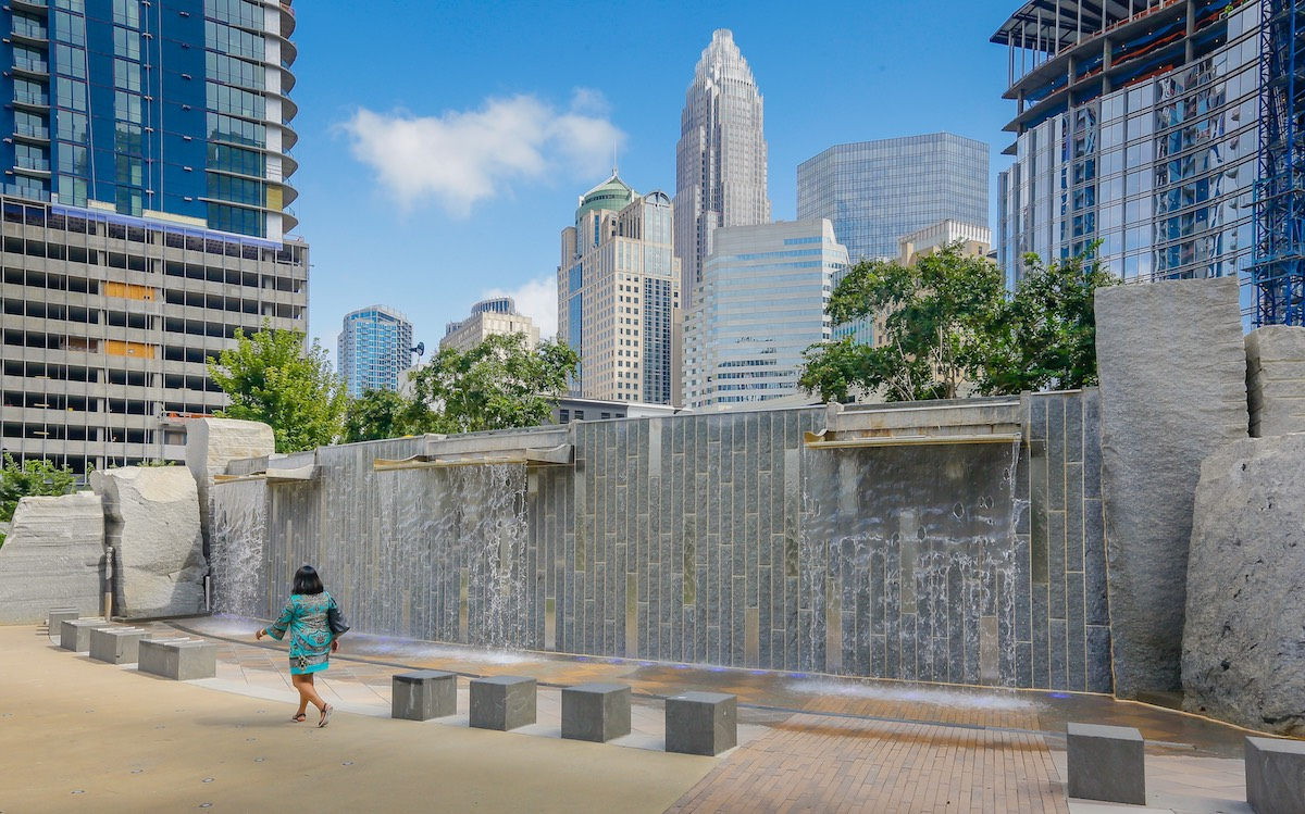 Architectural waterfalls at a park in Uptown Charlotte