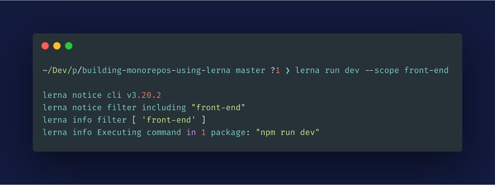 lerna single package command