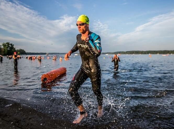 professional triathlete Andrew Starykowicz at a triathlon's T1