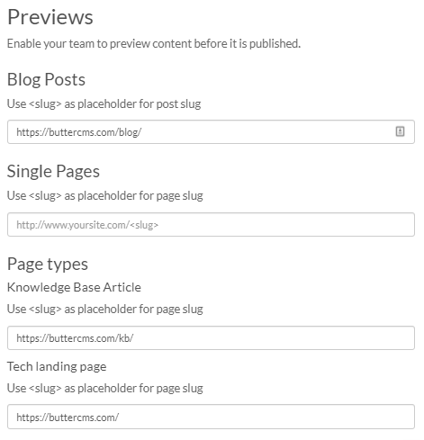 Screenshot showing how to set up preview urls in ButterCMS