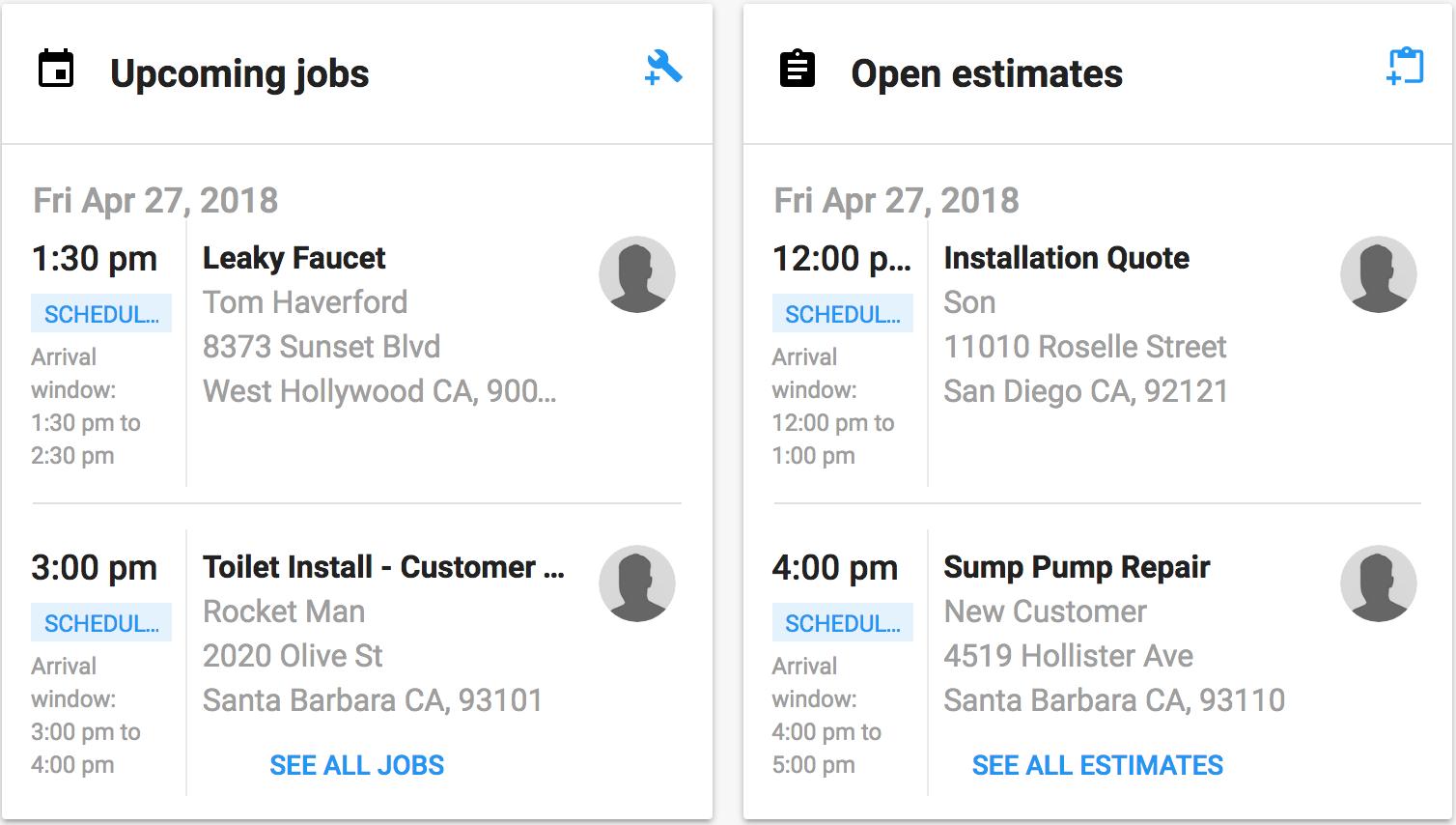 Open Estimates, Upcoming Jobs widgets