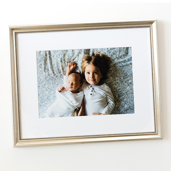 Baby & Big Brother Photo in thin beaded silver Buckhead frame