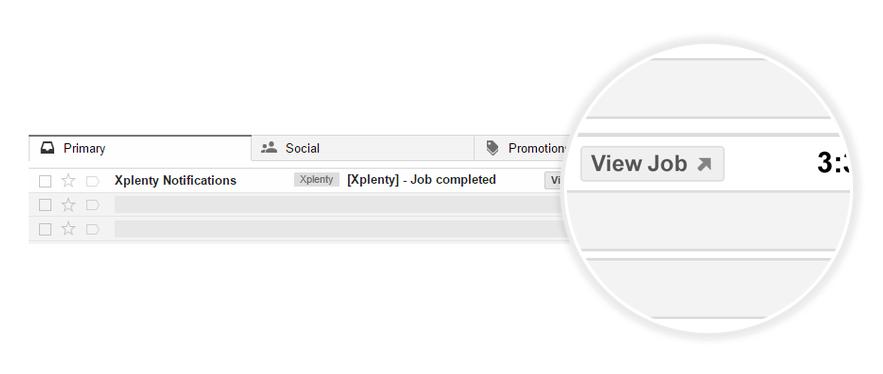 Xplenty Gmail action button screenshot
