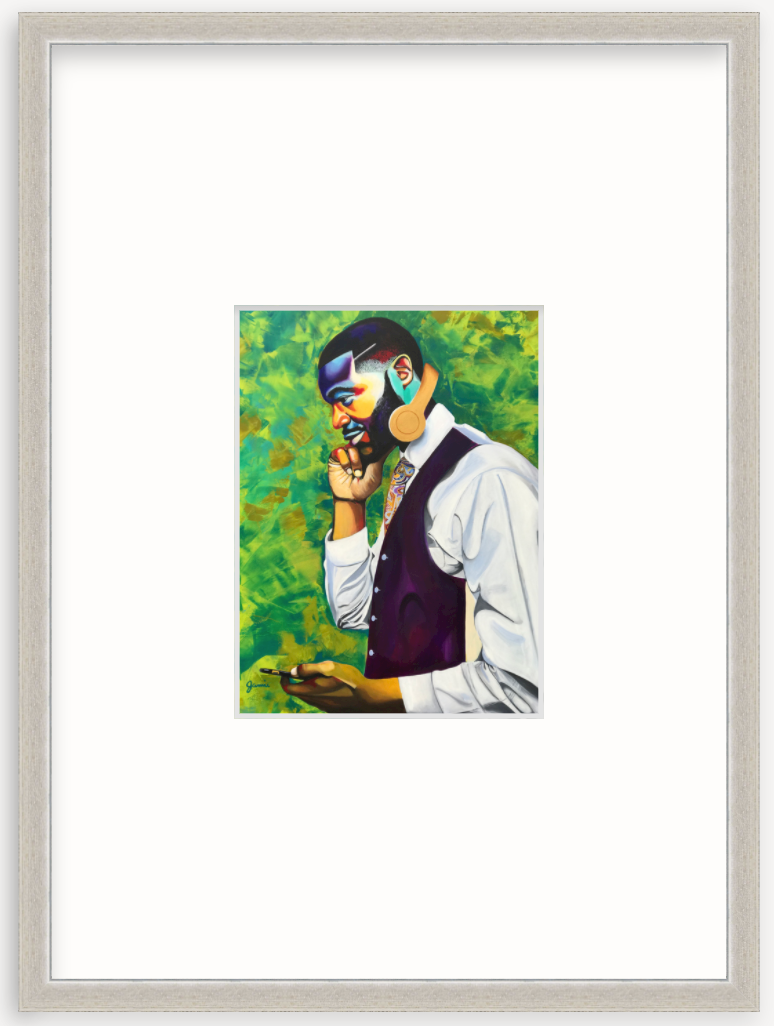 colorful art portrait of man with headphones in silver frame