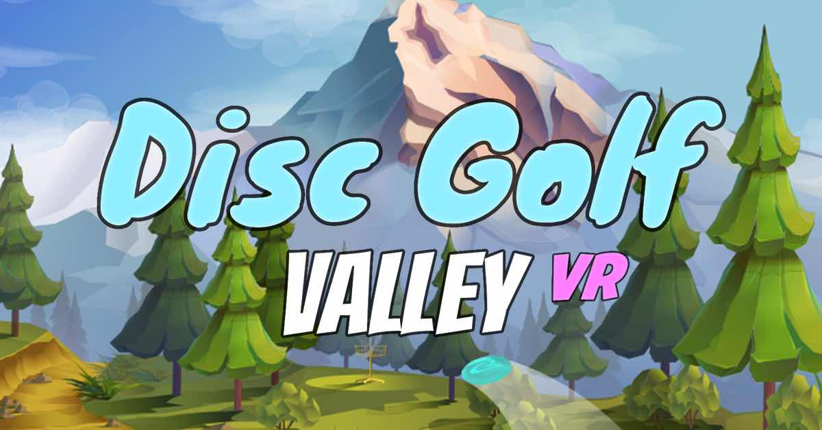"""Animation of an alpine landscape with  the text """"Disc Golf Valley VR"""" in the center"""