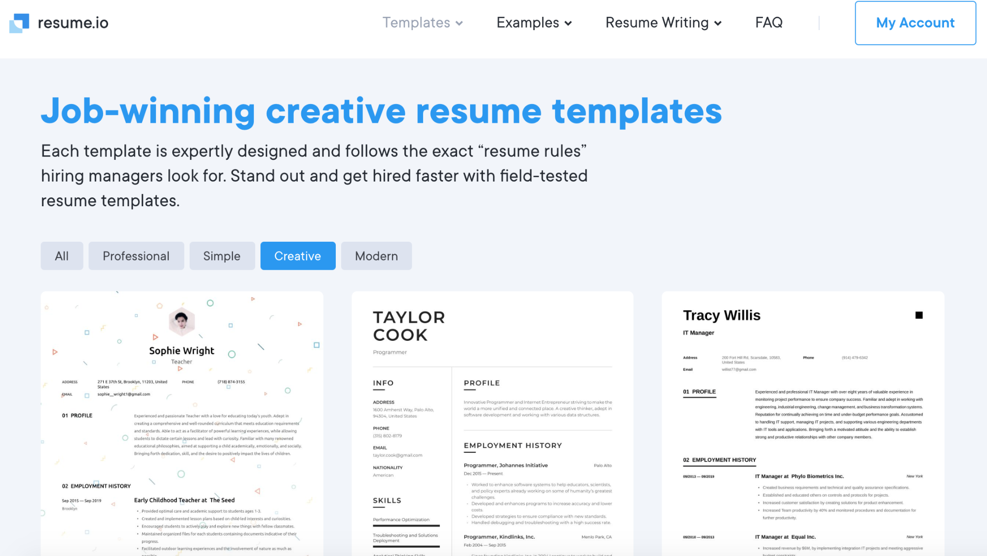 Screenshot of resume.io website page with job-winning creative resume templates.