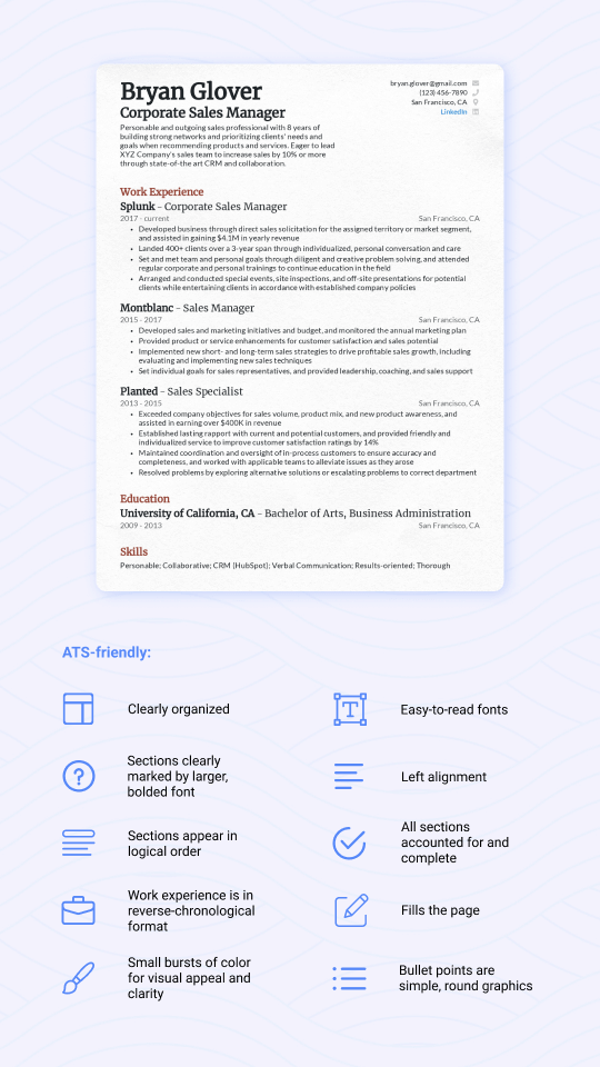 ATS-friendly resume example with descriptions