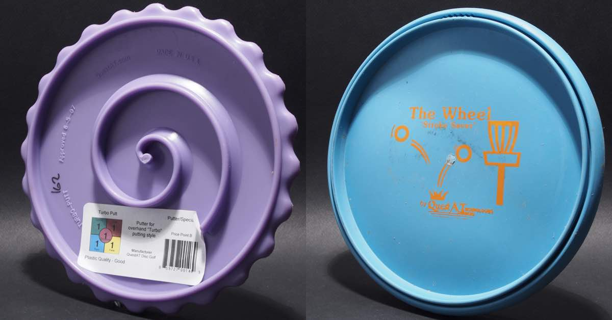 The back of a purple disc with a raised spiral. The front of a blue wheel-like disc.