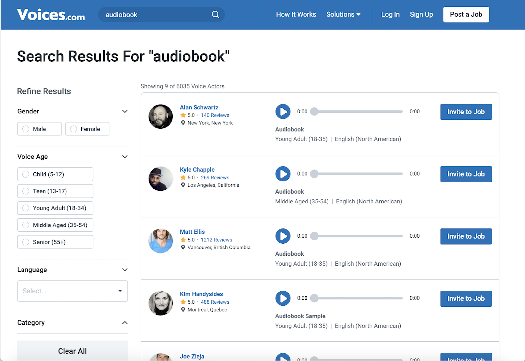 search results on Voices.com for audiobook narrators