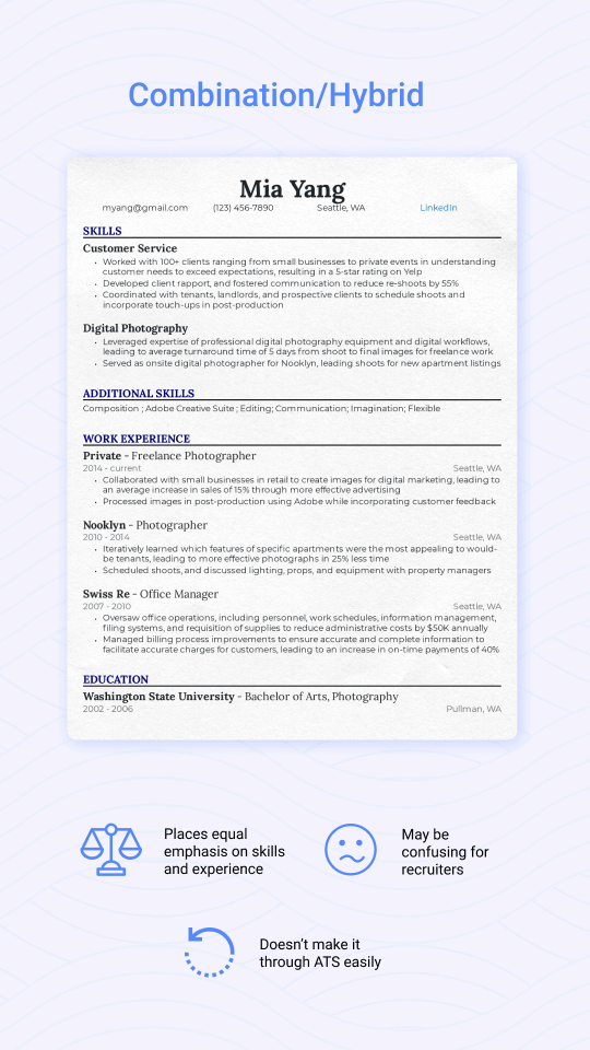 Combination/hybrid resume example