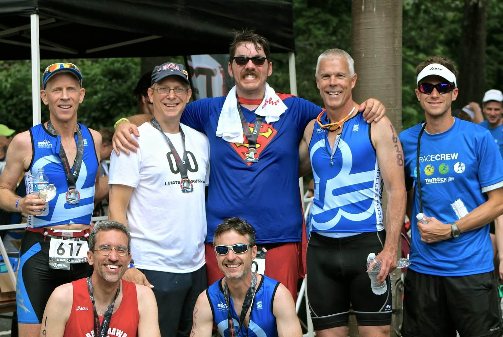 the men of Team Endless Pools at the TriRock Philly triathlon