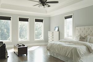 Interior bedroom with Infinity from Marvin casement fiberglass windows