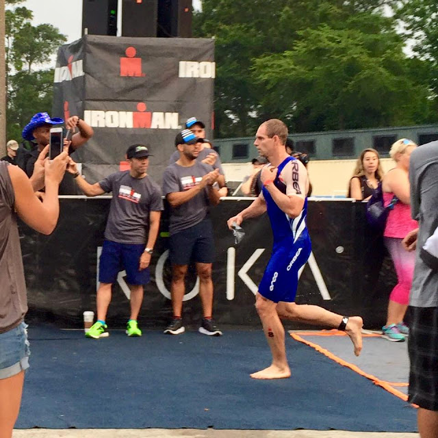 professional triathlete Andrew Starykowicz at T1 in IRONMAN Texas