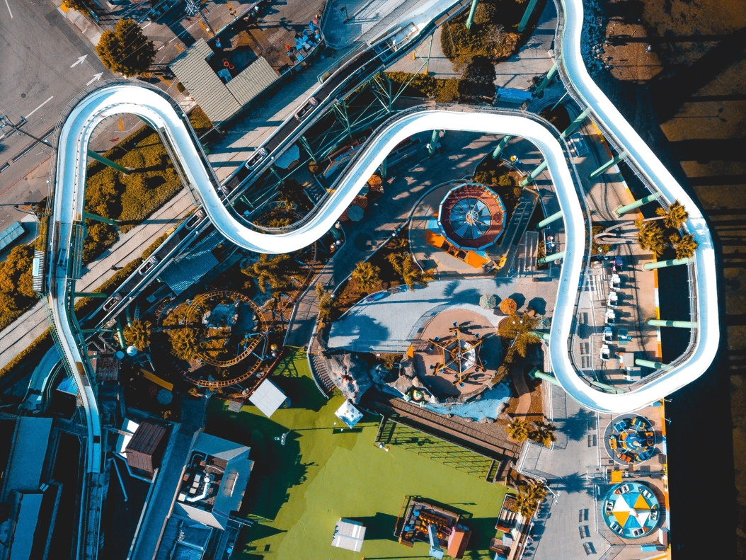 Aerial image of a waterslide from a waterpark