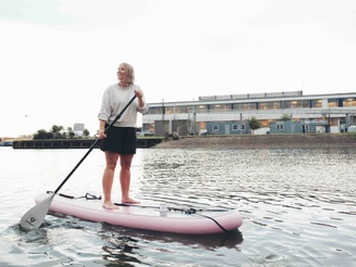 Tine Jensen on her SUP board in Copenhagen