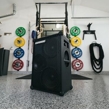 SOUNDBOKS Speaker in a home gym