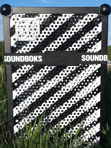 customized SOUNDBOKS Bluetooth Speaker with black and white stripes on the grill