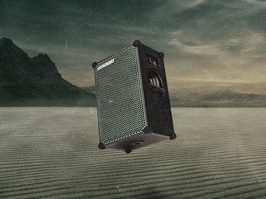 The New SOUNDBOKS Martian Edition in front of an outer space background
