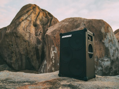 New SOUNDBOKS Bluetooth Speaker in front of a mountain