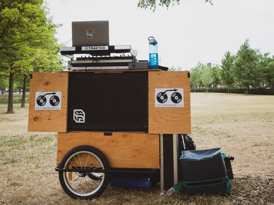 SOUNDBOKS speaker integrated into a portable DJ setup