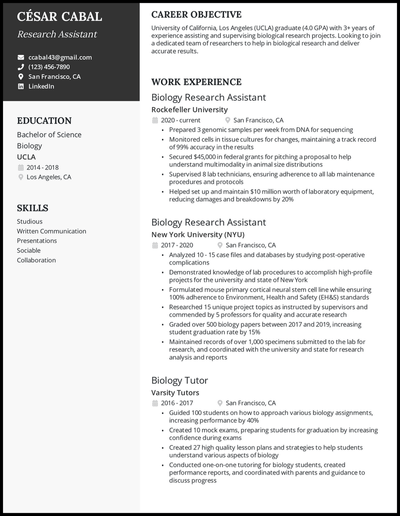 Academic resume examples with 4+ years of experience